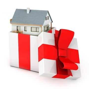 Blue Coned House In A White Gift Box With Red Ribbon